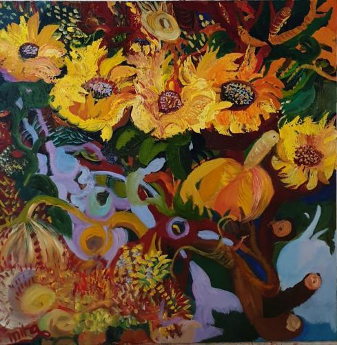 Suns flowers 80x80 oil-min