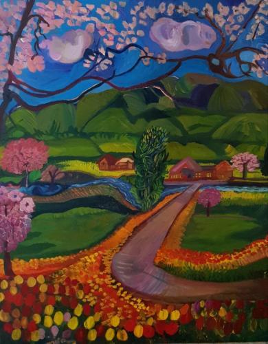 Landscape in pink oil 80x100-min