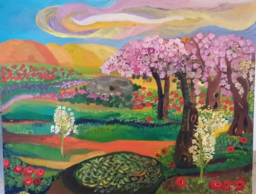 Nature with the Almond trees oil 80x100-min