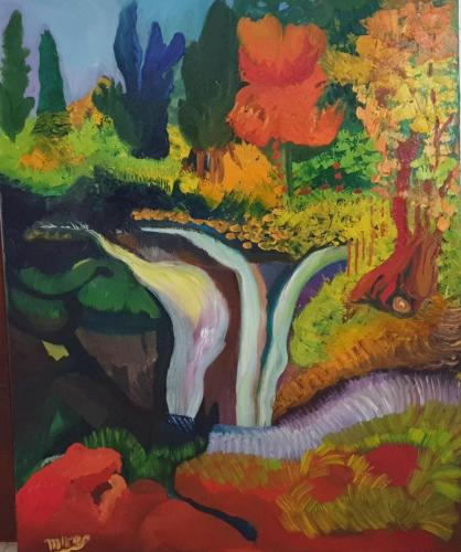 Nature with waterfall 80x100 oil-min